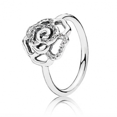 фотография кольцо пандора сверкающая роза н7965л-4