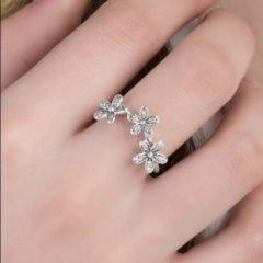 фотография кольцо пандора трио маргариток к09856с-2 №1