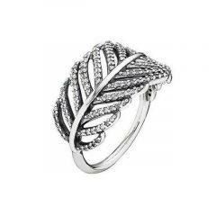 фотография кольцо пандора сверкающее перо а56342в-1