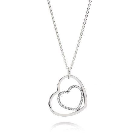 фотография кулон с цепочкой пандора сердцем к сердцу К005