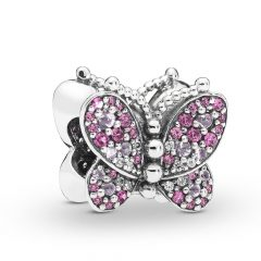 фотография шарм пандора розовая бабочка 763987РБ-1