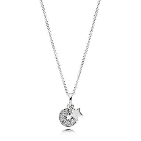 фотография кулон с цепочкой пандора яркая звезда К019