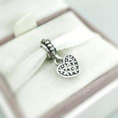 фотография подвеска-шарм пандора висящее сердечко, паве 791023CZ №1