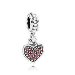 фотография подвеска-шарм пандора красное висящее сердечко, паве 791023CZR