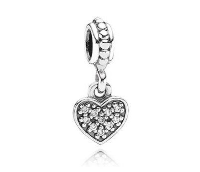 фотография подвеска-шарм пандора висящее сердечко, паве 791023CZ