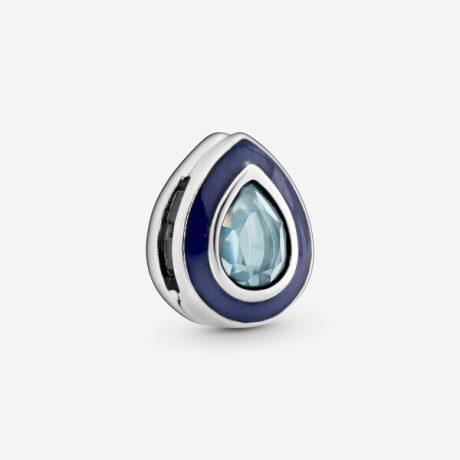 фотография шарм клипса пандора reflexions голубая капля Т98567Е