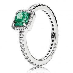 фотография кольцо пандора вечная элегантность зеленый камень в45236р-2