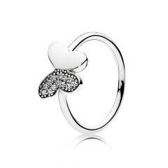 фотография кольцо пандора сверкающий мотылек с45231п-1