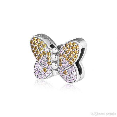 фотография шарм клипса пандора reflexions сверкающая бабочка В23165С