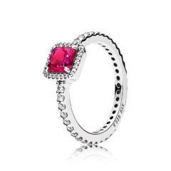 фотография кольцо пандора вечная элегантность красный камень в34256п-2