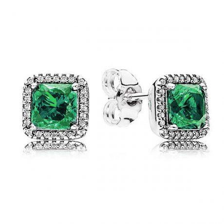 фотография серьги пандора вечная элегантность зеленый камень 67453-2