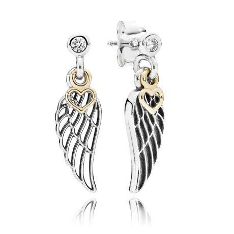 фотография серьги пандора волшебные крылья (с золотом 585пр) 78564-1
