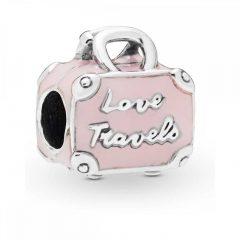 фотография шарм пандора розовый чемоданчик люблю путешествовать с65398т-2