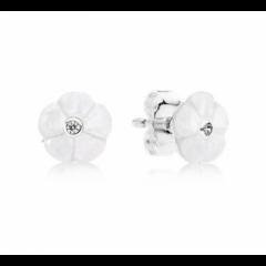 фотография серьги пандора белые цветы 67905-1