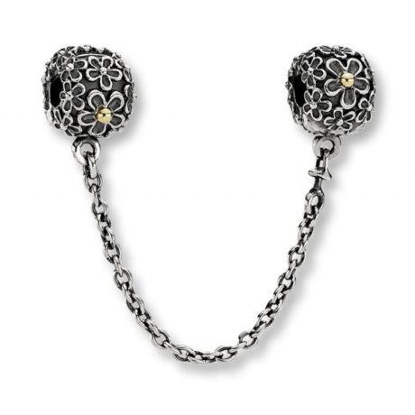 фотография защитная цепочка пандора диковинные цветы (с золотом 585пр) 561254-1