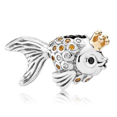 фотография шарм пандора золотая рыбка 750243CZ-1