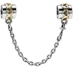 фотография защитная цепочка пандора серебрянные сердца 563487-3