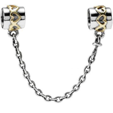 фотография защитная цепочка пандора серебрянные сердца (с позолотой) 563487-3