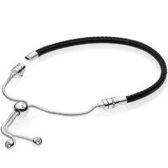 фотография браслет пандора кожаный черный слайдер 59722СВК-2
