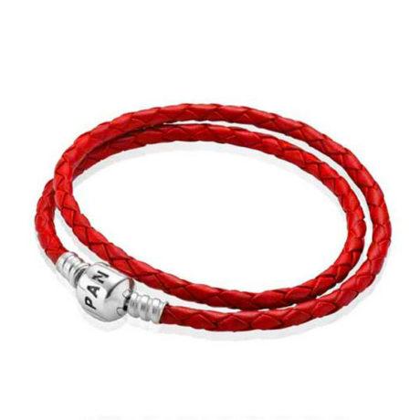 фотография браслет пандора кожаный красный (разные размеры)