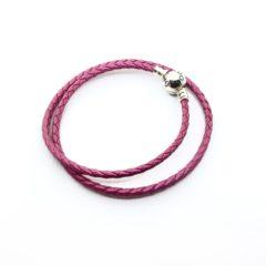 фотография браслет пандора кожаный ярко-розовый с перламутром