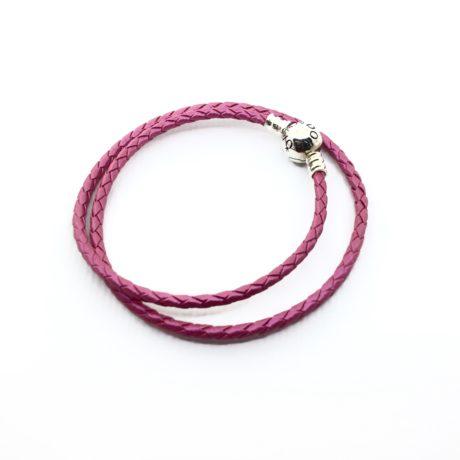 фотография браслет пандора кожаный ярко-розовый с блеском