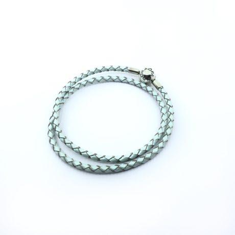 фотография браслет пандора кожаный зелено-голубой (одинарный с перламутром -одинарный)