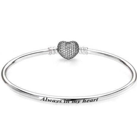фотография браслет пандора (бэнгл) сверкающее сердце 597354CZ