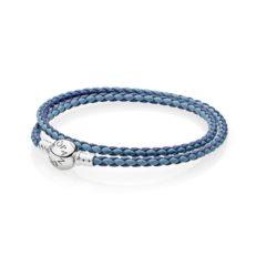 фотография браслет пандора кожаный светло- и темно- синее переплетение