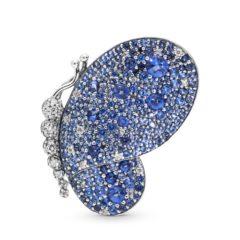 фотография подвеска брошь пандора сверкающая синяя бабочка 697996NCB