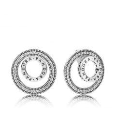 фотография серьги пандора кольца с логотипом 297446CZ