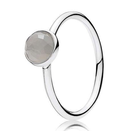 фотография кольцо пандора лунный камень (серый) (58 р-р) 191012MSG