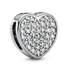 фотография шарм-клипса пандора reflexions сердце pave 798684С01-