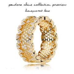 фотография кольцо пандора  shine - медовые соты (58р-р)