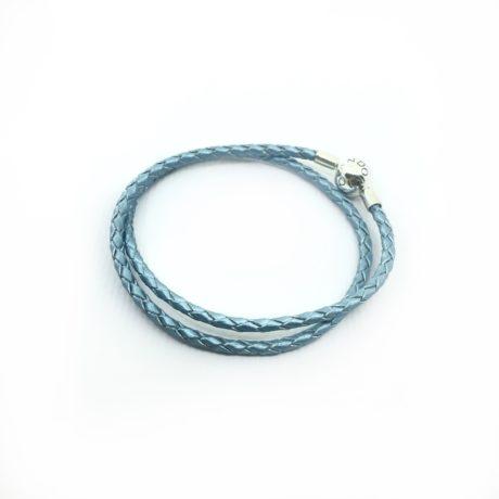 фотография браслет пандора кожаный голубой с перламутром