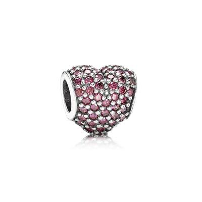 фотография шарм пандора рубиновое сердце паве 791052CZR