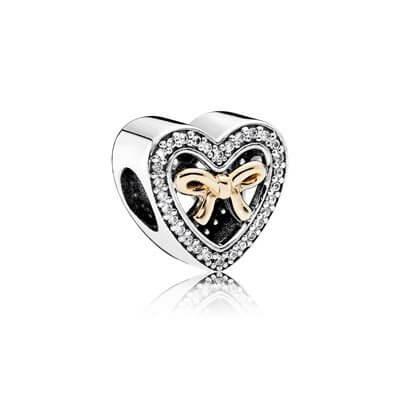 фотография шарм пандора сердце с бантом из золота 791875СZ