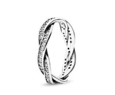 фотография кольцо пандора сверкающее переплетение (54рр) 190892СZ