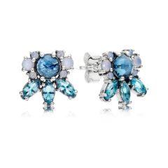 фотография серьги пандора голубые кристаллы 290731NMBX
