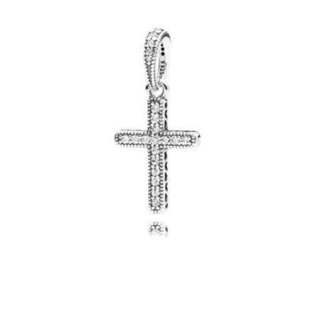 фотография подвеска пандора крестик (большой) 790355CZ-