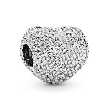 фотография клипса пандора белое сердце 791053CZ-