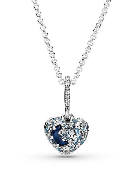 фотография кулон (медальон) пандора с цепочкой романтическое сердце (луна и звезды) 399232С01-45