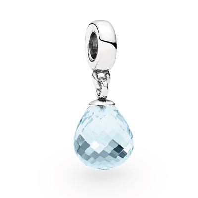 фотография подвеска пандора прозрачная капля (голубая) 791602CLB-