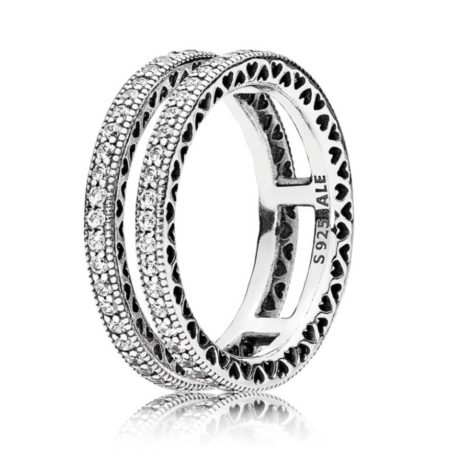 фотография кольцо пандора два сердца вместе 196236СZ-