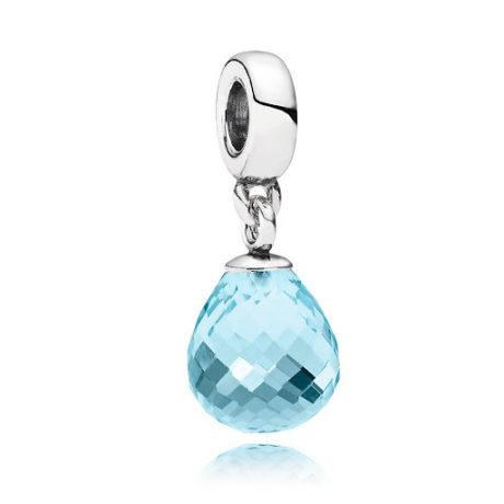 фотография подвеска пандора прозрачная капля (ярко-голубая) 791603 СLC-