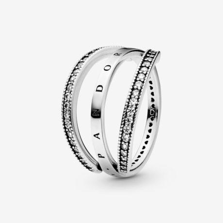 фотография кольцо пандора открытое сердце 197402CZ-
