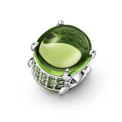 фотография шарм пандора зеленый овальный карбошон 799309С02-
