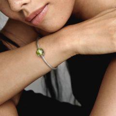 фотография шарм пандора зеленый овальный карбошон 799309С02- №2