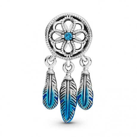 фотография подвеска пандора ловец снов с голубой эмалью 799341С01-