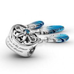 фотография подвеска пандора ловец снов с голубой эмалью 799341С01- №1